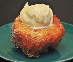 Fried Peaches with Cinnamon Ice Cream