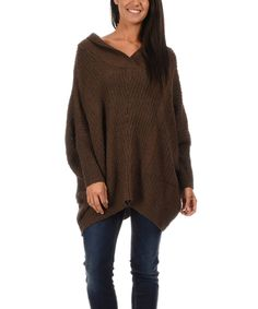 Love this Brown Shawl-Collar Sidetail Pullover by Bella Blue on #zulily! #zulilyfinds