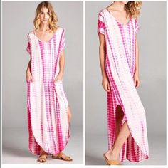 Tie dye chic dress ONE HOUR SALE Gorgeous side pocket slit sides dress in a beautiful tie dye PLEASE USE Poshmark new option you can purchase and it will give you the option to pick the size you want ( all sizes are available) BUNDLE And SAVE 10% ( sizes updated daily ) ONLY PINK AVAILABLE Dresses Maxi