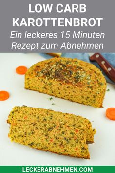 Juicy low-carb carrot bread - Bread without carbohydrates - Our carbon . - Juicy low-carb carrot bread – bread without carbohydrates – our low-carb bread with carrots is - Low Carb Recipes, Diet Recipes, Vegetarian Recipes, Vegetarian Lifestyle, Healthy Protein, Protein Snacks, Sin Gluten, Gluten Free, Healthy Cooking