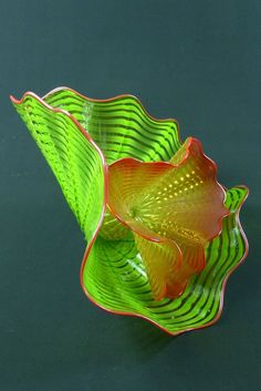"""2013 Signed Chihuly Workshop Studio Edition Art Glass """"Chartreuse Persian Pair"""""""