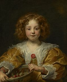 A Young Girl Holding a Basket of Cherries (possibly the Artist's Daughter, Anna…