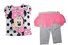 Disney Minnie Mouse Polka Dot T Shirt and Ruffled Flounce Capri Legging Outfit ** Check out this great product.
