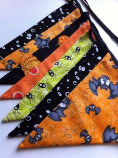 Halloween Bunting Banner in Green, Orange, Purple, Fall Decor, Bats, Spiders, Creepy Eyes, Pumpkins, Pennant, Bunting, Flags, Fabric Bunting