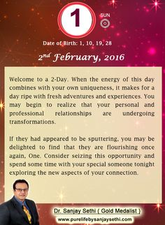 #Numerology‬ predictions for 2nd February'16 by Dr.Sanjay Sethi-Gold Medalist and World's No.1 #AstroNumerologist.