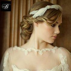 Abigail Feather And Crystal Hair Band - wedding fashion