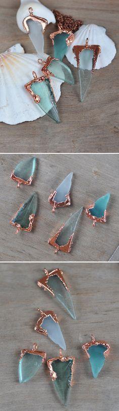 Sea Glass Pendant Natural Sea Glass in copper frame от ChechelArt
