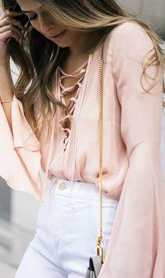 Lace up + white denim.
