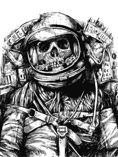 Skeleton Astronaut, black and white illustration.