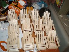 Here are my Club Little House items, ready to be painted, distressed and sent on their merry way.  I should probably mention that I didn't buy these chairs.  They are made of popsicle sticks from my own pattern.  It took about 10 sticks for each chair, plus three flat toothpicks for the supports on the chairback.