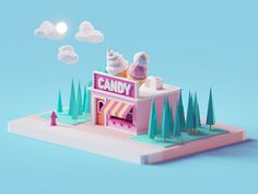Candy Shop designed by Mohamed Chahin. the global community for designers and creative professionals. Isometric Art, Isometric Design, 3d Animation, Create Animation, Eagle Cartoon, 3d Cinema, 3d Mode, Low Poly Games, Video Game Development