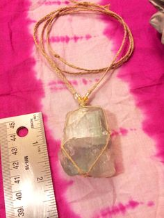 Large Raw Flourite Pendant Necklace Woven Tribal by AirSignStudios