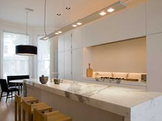 Obumex | Minimalistic Kitchen | Kitchen Island | Marble | White | Kitchen Lighting | Interior