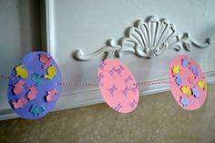 Easter Kids Craft Idea- Handmade Easter Egg Garland #easter #crafts