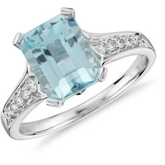 Blue Nile Aquamarine and Diamond Ring ($880) ❤ liked on Polyvore featuring jewelry, rings, blue nile, 14 karat gold ring, round diamond ring, 14 karat gold jewelry and 14k jewelry