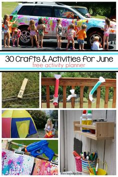 30 engaging learning activities and fun crafts for kids to do in June! Lots of summer fun for preschoolers! Free activity calendar for busy families! The Best June activities for kids! Summer Activities For Kids, Fun Activities For Kids, Fun Crafts For Kids, Preschool Activities, Camping Activities, Summer Crafts, Summer Fun For Kids, Kids Fun, Business For Kids