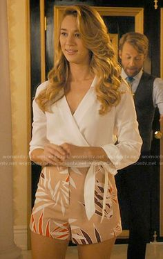 Petra's beige leaf print shorts and white wrap shirt on Jane the Virgin.  Outfit Details: https://wornontv.net/62109/ #JanetheVirgin