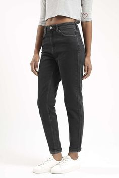 Photo 2 of MOTO Dark Washed Black Mom Jeans