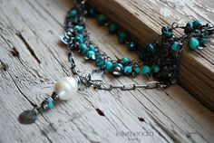 Turquoise Cluster Necklace Layered Short Choker Big Pearl