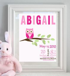 Items similar to owl baby print Birth announcemetn Owl Custom Baby Birth Print baby Owl Personalized with your baby Name Wall decoration on Etsy Girl Nursery, Nursery Decor, Nursery Room, Nursery Ideas, Girls Bedroom, Baby Room, Room Ideas, Baby Girl Born, Owl Birthday Parties