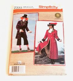 Pirate Hook Costume Captain Morgan Mad Hatter Steampunk Navy Simplicity 2333 #Simplicity
