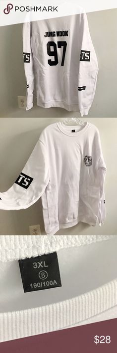 *Nwt* BTS Jungkook Sweatshirt Pullover Unisex Selling because I got a batch of wrong sizes and I can't afford to return everything   ***Make OFFERS***  MEN who are interested, this fits XL  Measurements  Ladies XXXL Bust (actual top across): ~64cm Length: ~81 cm  It's a long top but perfect for casual lounging (:  #kpop #kpopbts #kpopfashion #kpopclothing #kpopmens #btshoodie #btsclothing  #btsjungkook #kpopmerch #new #nwt #blackclothes #hiphop #cool #sweatshirt #bts #2017 #fashion #pullover…