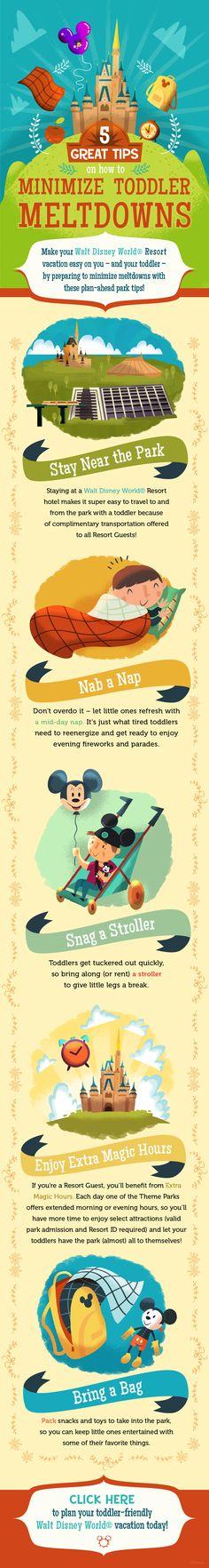 5 tips to minimize toddler meltdowns at Walt Disney World! #vacation #tricks