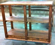 Rustic antique unique handmade style Wood Floor Shelf Display home wooden furniture log home shelves shelving. Retail sales fixture.  http://jbrothersandcompany.com