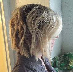 Brown and blonde choppy bob with blunt ends by Shane Craig