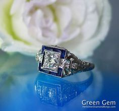Diamond Ring Blue Sapphire Accents Antique White Gold