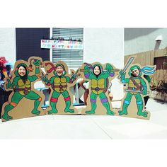 Created by: Ginny Kim For customized artwork, email: mailto:ginnyykim Having fun with the Ninja Turtle cardboard cut-outs for Matthew's birthday party! Ninja Turtle Party, Ninja Party, Ninja Turtle Birthday, Superhero Party, Ninja Birthday Parties, 5th Birthday Party Ideas, Boy Birthday, Teenage Ninja Turtles, Baby Shower
