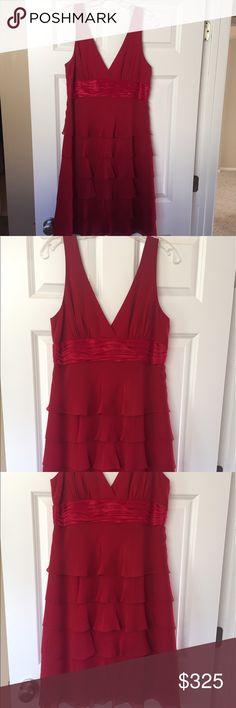 BCBG Red Cocktail Dress BCBG red tiered cocktail dress. Dress is lined with a 100% silk interior. Size 10.  No alterations to the dress. From a pet free/smoke free home. Worn once. In excellent condition.  Very elegant!  💜5 Star Rated Seller! 💜Same or Next Day Shipper (Excludes Weekends and Holidays)! BCBG Dresses Midi