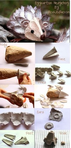 Fun diy hedgehog egg carton for the kids to make whenever they are bored.
