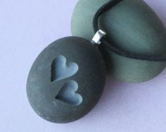 Two Hearts Together - Double sided engraved stone necklace - Tiny PebbleGlyph (c) Necklace