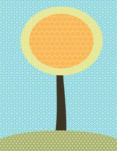 Lollipop tree kids art print - Customizable 8x10 art print orange, green, and aqua or choose your patterns and colors. $15.95, via Etsy.