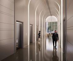 Lobby Interior, Interior Lighting, Luxury Interior, Interior Architecture, Lift Design, Wall Design, Elevator Lobby Design, Wooden Facade, Mix Use Building