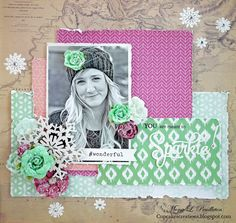Layout by More Than Words DT member Mona Pendleton inspired by the February WONDERFUL & SPARKLE Main Challenge. More details at http://morethanwordschallenge.blogspot.ca/2016/02/february-2016-main-challenge-wonderful.html  #morethanwords #mtwchallenge #morethanwordschallenges #mtw