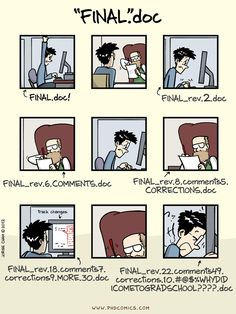 """PHD Comics: notFinal.doc (or """"FINAL"""".doc) (by Jorge Cham, 10/12/2012)"""