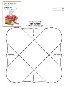 is an adorable little treat box i found in the July/August 2011 edition of paper Crafts! LOVE this magazine! Kirigami, Box Patterns, Craft Patterns, 3d Templates, Paper Toy, Printable Box, Printables, Free Boxes, Craft Box