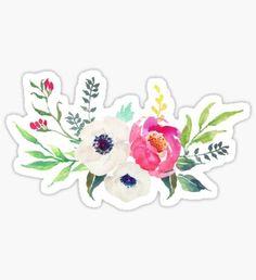 Anemone Peony Watercolor Bouquet Sticker
