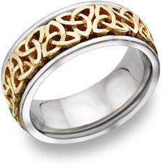 Celtic Trinity Knot Wedding Band, 14K Two-Tone Gold
