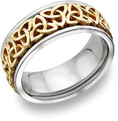 Celtic Trinity Knot Wedding Band, 14K Two-Tone Gold