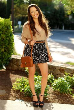 Adorable summer outfit Cozy Cream top and white dots black short skirt for ladies.... to see more click on picture