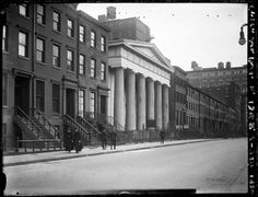 Greenwich Presbyterian Church [145 West 13th] on north side of West 13th Street between 6th and 7th Avenues. House this side is No. 147. House on far side is No. 139. Date: May 2, 1920
