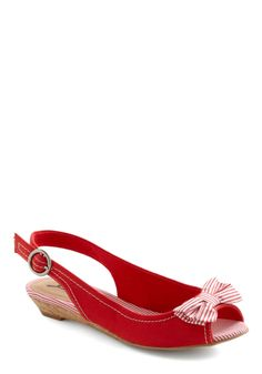 Beach Duty Wedge - Red, White, Solid, Stripes, Bows, Buckles, Casual, Nautical, Summer from ModCloth