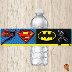 Printable Superman Batman Water Bottle by BrightOwlCreatives, $3.00