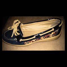 Boat shoes Blk an leopard print alex marie Shoes