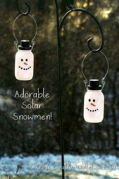Solar Snowman Mason Jars