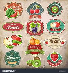 Collection of vintage retro grunge fresh fruit labels, badges and icons by Catherinecml, via ShutterStock hmm I like the apple one. I've always been drawn to ribbon banners. Vintage Grunge, Retro Vintage, Vintage Food, Fruit Logo, New Fruit, Fresh Fruit, Fruit Juice, Jugo Natural, Packaging