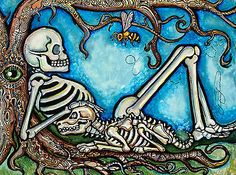 Lisa Luree Original Day of The Dead Dog Daze Dia de Los Muertos Painting Art   eBay